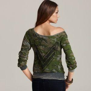 Vintage Havana camo chevron military sweatshirt S